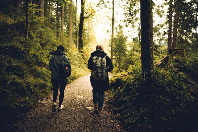 Two people walking in the woods