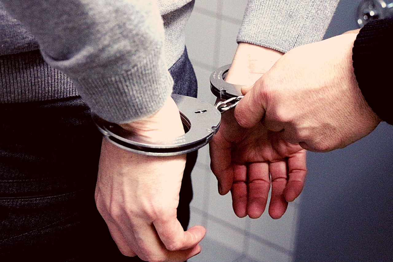 Man in handcuffs close up